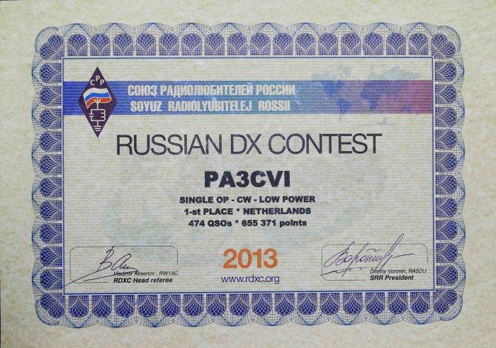 Russische DX-Contest certificaat ontvangen