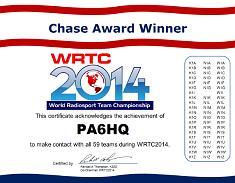PA6HQ is Chase Award Winner in WRTC2014