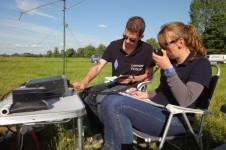 Zendamateurs actief in het veld bij Ouderkerk a/d Amstel