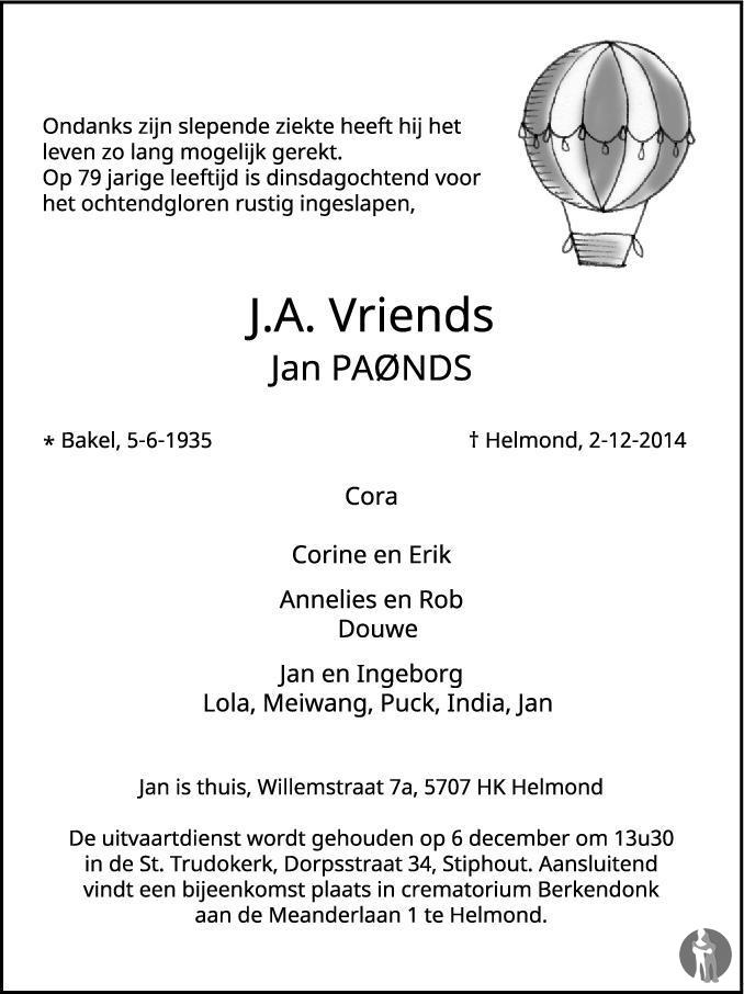 OM Jan Vriends (PA0NDS), Silent Key