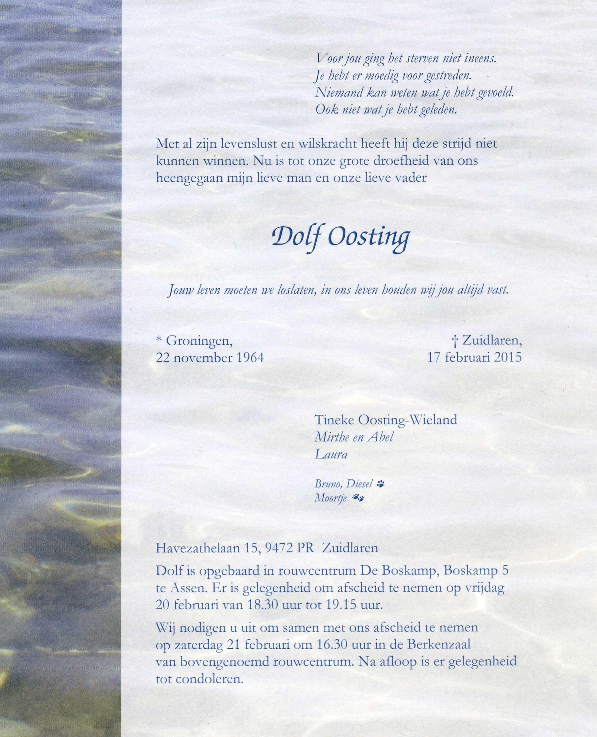 OM Dolf Oosting (PG4X), Silent Key