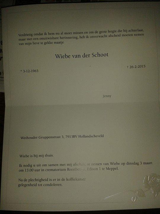 overlijdenskaart Wiebe PA7WS