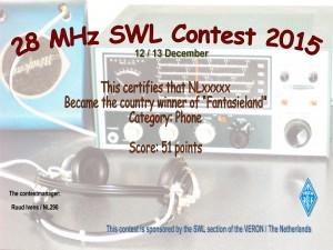 Mededeling voor de deelnemers aan de 28MHz SWL Contest