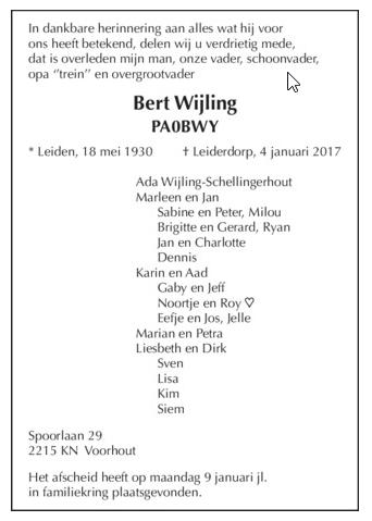 OM Bert Wijling (PA0BWY), Silent Key