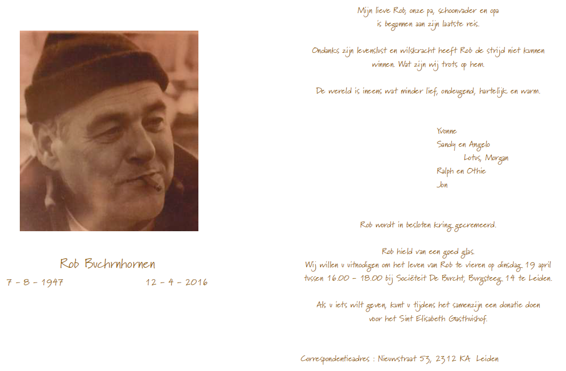 OM Rob Buchrnhornen (PE1JPQ), Silent Key