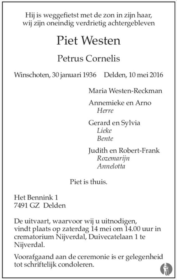 OM Piet Westen (PA0PCW), Silent Key