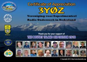 Gedeeltelijke terugbetaling donaties 3Y0Z Bouvet DXpeditie