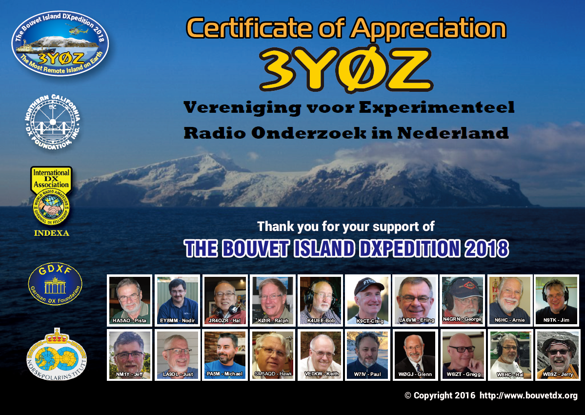 Bouvet DXpedition Team certificate of appreciation