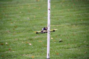 De drone in actie op het parcours