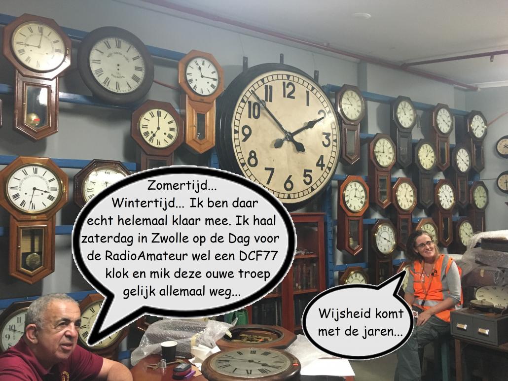 Zomertijd... Wintertijd... Ik ben daar echt helemaal klaar mee. Ik haal zaterdag in Zwolle op de Dag voor de Radio Amateur wel een DCF77 klok en mik deze ouwe troep gelijk allemaal weg...