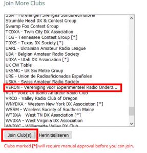 Klik vervolgens op 'Join Club(s)'. U kunt zich voor meerdere clubs aanmelden.