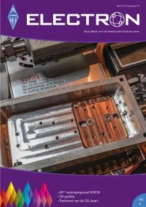 Op de voorpagina van de Electron april 2019, Blok met koperen inzet voor de koeling van de 13 cm-versterker.