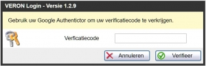VAs 1.2.9 verificatiecode via Google Authenticator