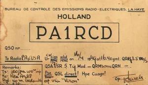 Historische QSL kaarten, PA1RCD